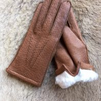 Women's Winter Gloves Peccary Leather Gloves with Rabbit fur Lining