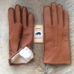 Men's Peccary Leather Gloves with Rabbit Fur Lining and button closure