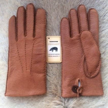 Men's Peccary Leather Gloves with Rabbit Fur Lining