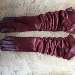 Women's Fashion Long Soft Leather Gloves Black Brown Burgundy Fancy Hungant Gloves unlined
